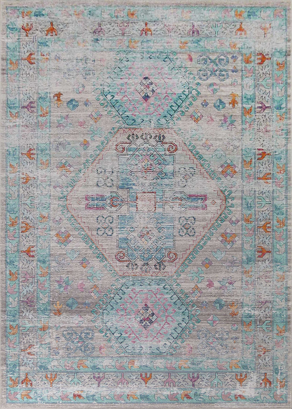 Vintage Style Soft Polyester Print on Design Elevate 231 Area Rug by Rug Factory Plus