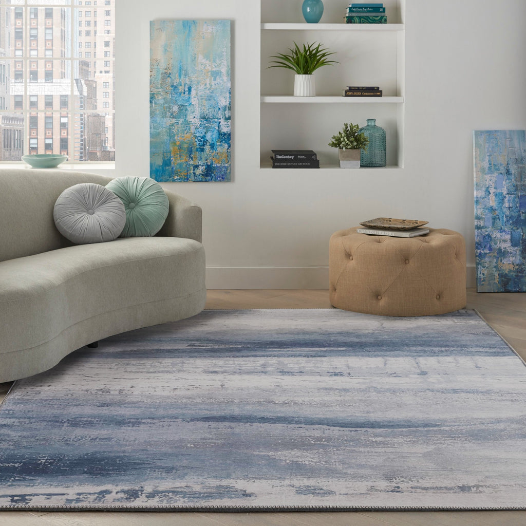 Vintage Blue Meadow Art Print Design Area Rug