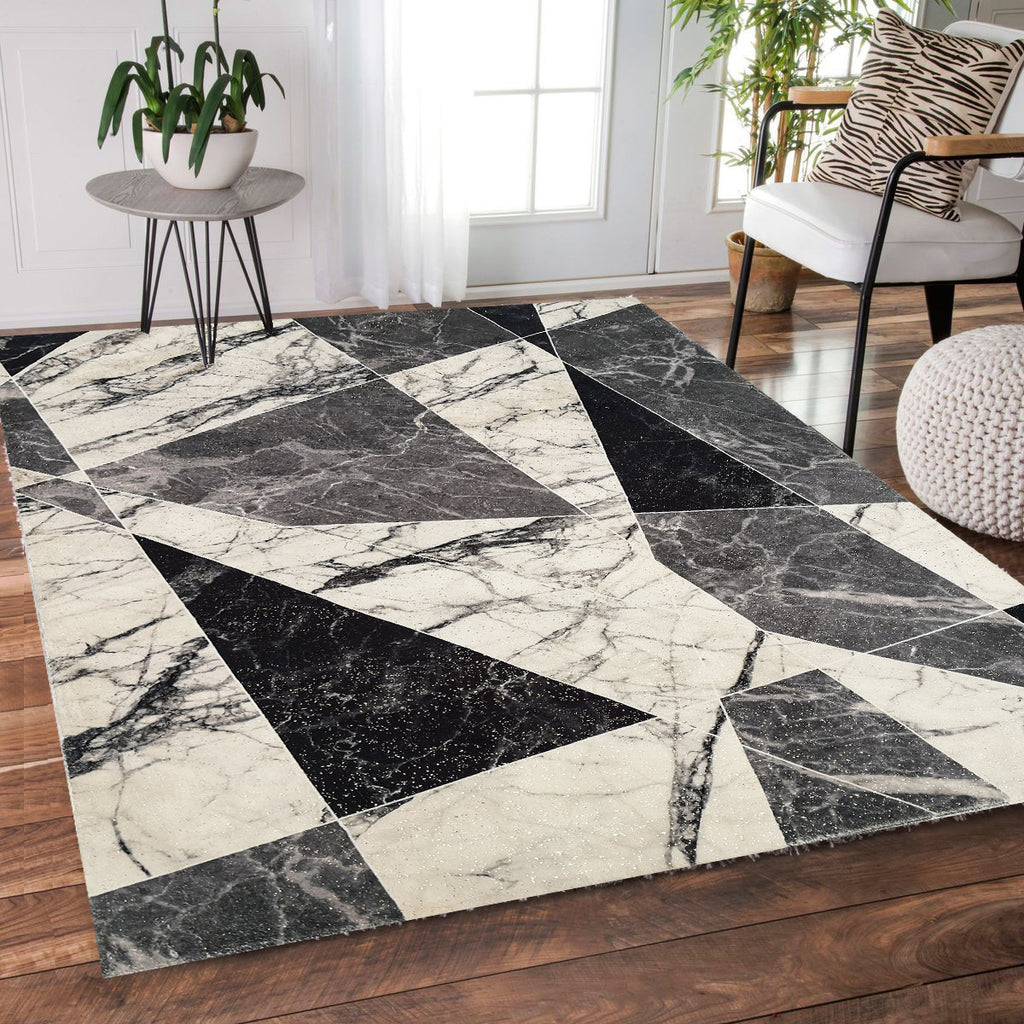 Abstract Shimmery Foil Illuminating Effect Area Rug