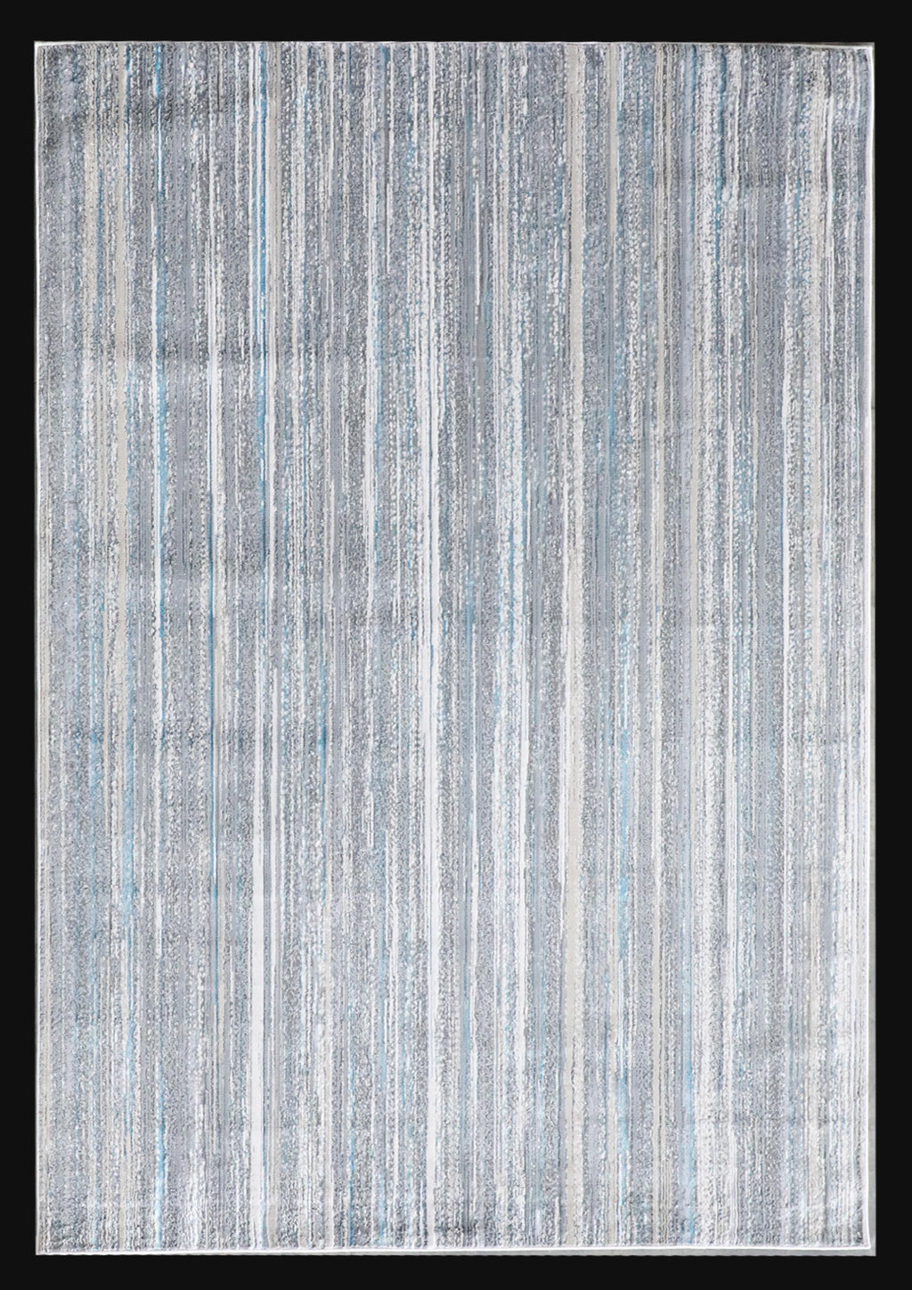 Modern Lines Azure  Blue Abstract Artsy Designer Area Rug