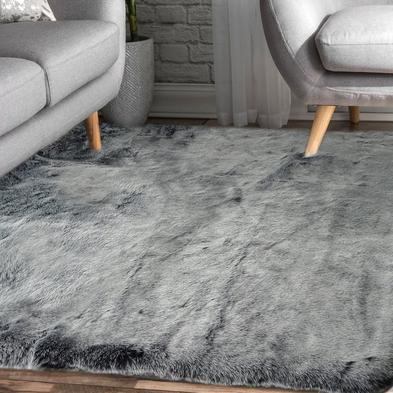 7TH Ray Dip Dye Modern Faux Fur Area Rug by Rug Factory Plus