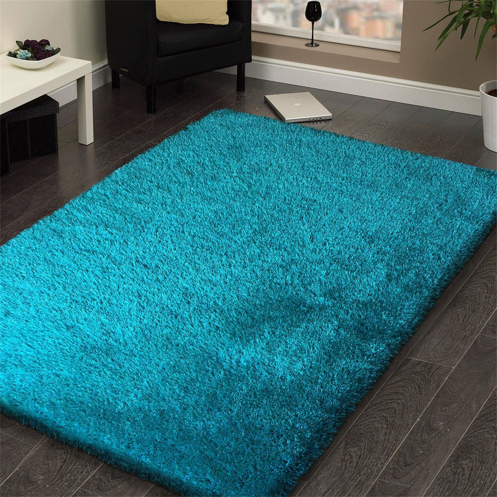 Best Seller Heavy Solid 2''Pile  Shag Multi Textural Turquoise Area Rug