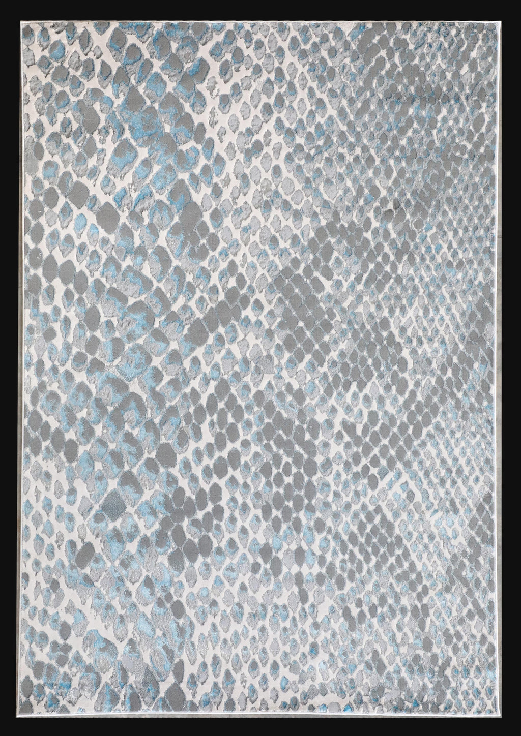 Aqua Blue Shimmery Contemporary Abstract Area Rug