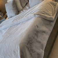 Modern Soft Luxury Chinchilla Feel Faux Fur Silver Blanket/Quilt