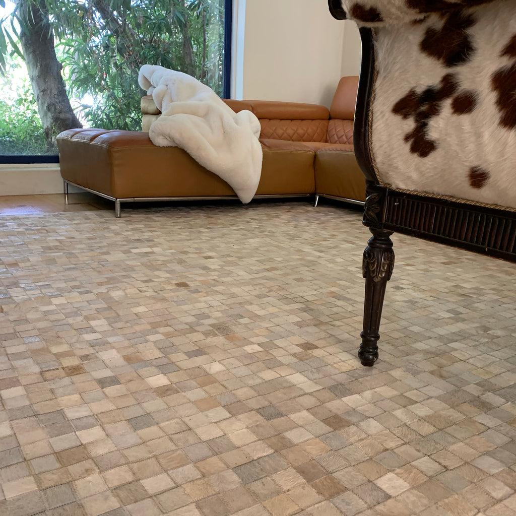 Handmade Natural Cow Leather Patchwork Tile Area Rug