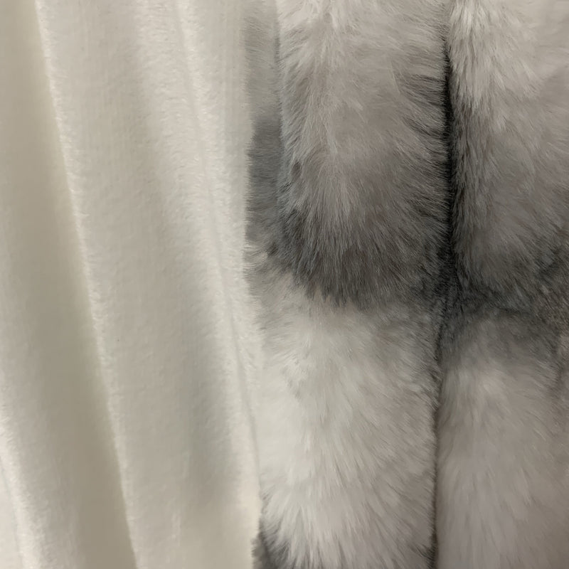 Fluffy Chinchilla Soft Hand Crafted Faux Fur Two-tone Gray White Throw
