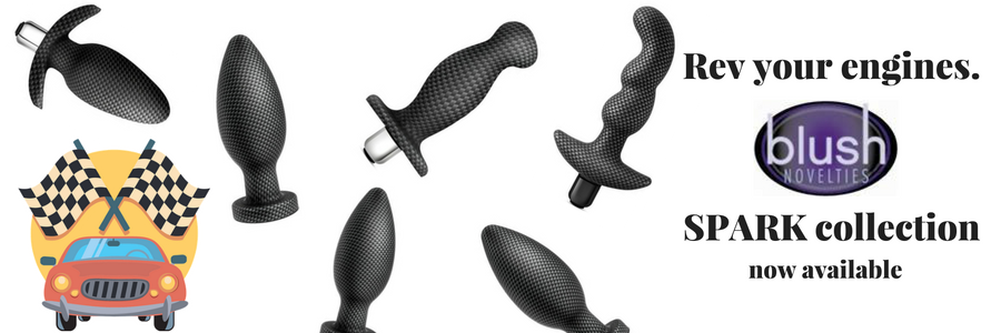 Spark Plug Anal Toy Butt Plug Collection by Blush Novelties Medical Grade Silicone Carbon Fiber Pattern