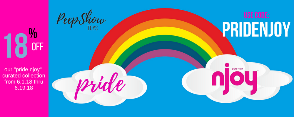 Pride njoy banner rainbow with clouds depicting 18% off curated collection at Peepshow Toys