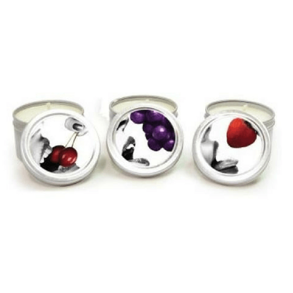 Massage Candle Threesome Gift Set - Cherry, Grape & Strawberry  Massage Candle Earthly Body Peepshow Toys