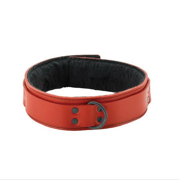 "1.5"" inch Spartacus Red Leather Collar with Faux Fur"