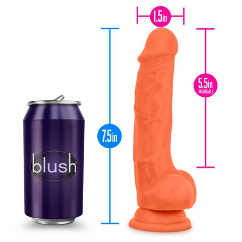 Blush Neo Elite 7.5 Inch Silicone Dual Density Suction Cup Dildo with Balls - Hamilton Park Electronics