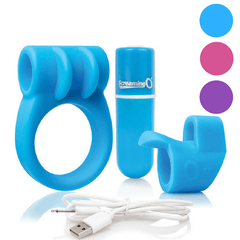 Charged Combo Kit #1 With Silicone Cock Ring and Finger Vibrator