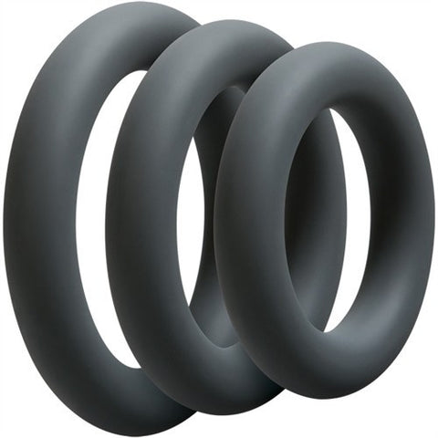 Set of 3 Optimale Thick Silicone Cock Rings   Doc Johnson Peepshow Toys