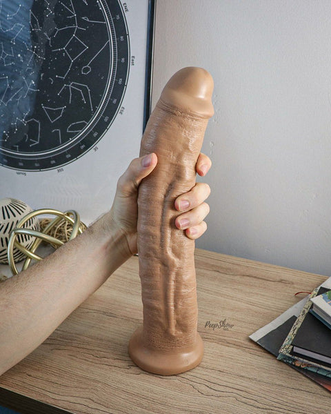 SquarePegToys® Leo Harness SuperSoft Bronze Silicone Dildo with SquarePegHole™