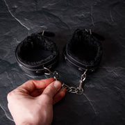 Ouch! Plush Leather Hand Cuffs by Shots - Hamilton Park Electronics