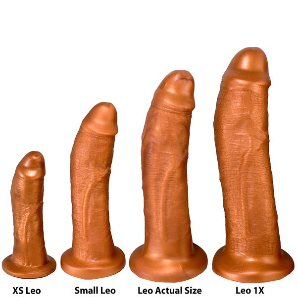 SquarePegToys® Leo Harness SuperSoft Bronze Silicone Dildo with Suction Cup
