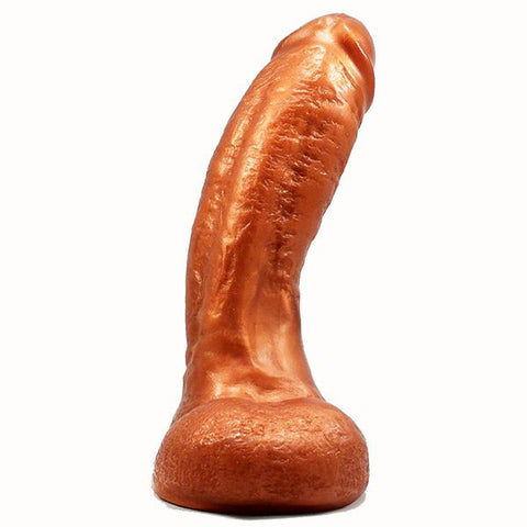 SquarePegToys® Mel SuperSoft Bronze Silicone Dildo with Balls - 3 Sizes