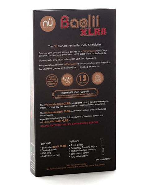 NU Sensuelle Baelii XLR8 Powerful Rechargeable Vibrator with Turbo Boost