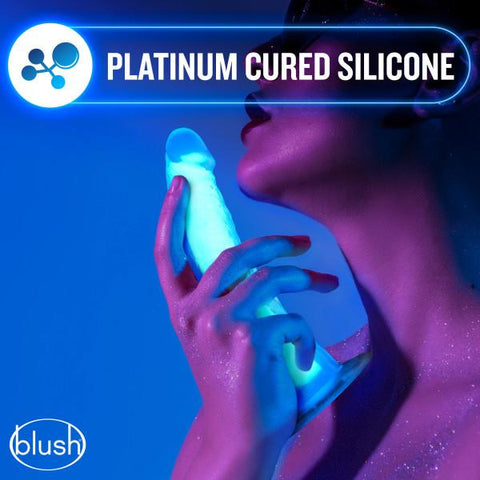 Blush Neo Elite GLOW in the Dark 7.5 Inch Silicone Dual Density Suction Cup Dildo - Hamilton Park Electronics