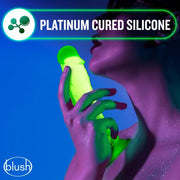 Blush Neo Elite GLOW in the Dark 7.5 Inch with Balls Silicone Dual Density Suction Cup Dildo  Dildo Blush Novelties Peepshow Toys