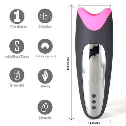 Maia Piper Vibrating Self-Heating Silicone Masturbation Sleeve with Suction