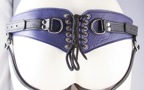 Aslan Prince Minx Purple Leather Strap-On Harness - Hamilton Park Electronics