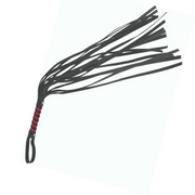 Sex & Mischief Faux Leather Red & Black Strips Flogger