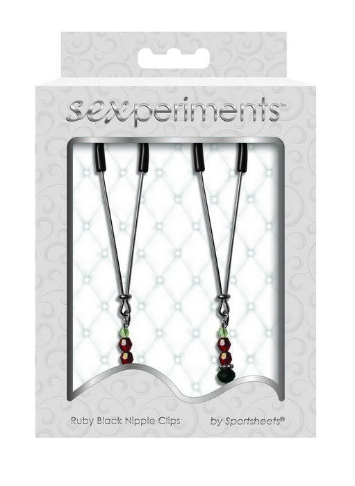 Sexperiments Ruby Black Nipple Clips by Sportsheets  Nipple Clamps Sportsheets Peepshow Toys