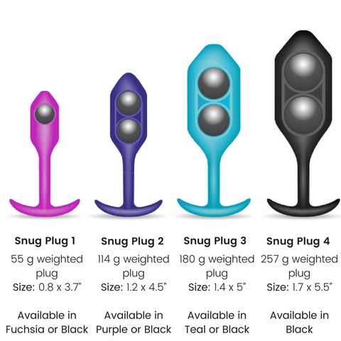 b-Vibe Snug Plug Weighted Silicone Butt Plugs - 5 Sizes - Hamilton Park Electronics