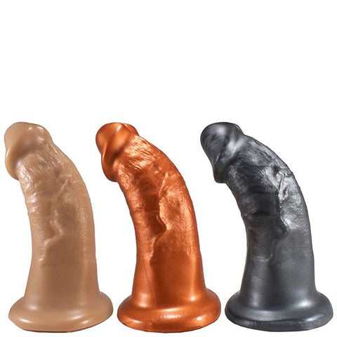 SquarePegToys® Steve Harness SuperSoft Bronze Silicone Dildo with SquarePegHole™