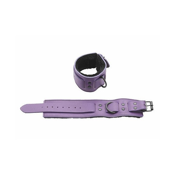 Purple Leather Wrist Restraints with Black Fur Lining