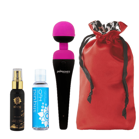 BMS PalmPower Rechargeable Bundle with Sugar Sak, Sliquid H2O Lube & Toy Cleaner  Wand Massager BMS Peepshow Toys