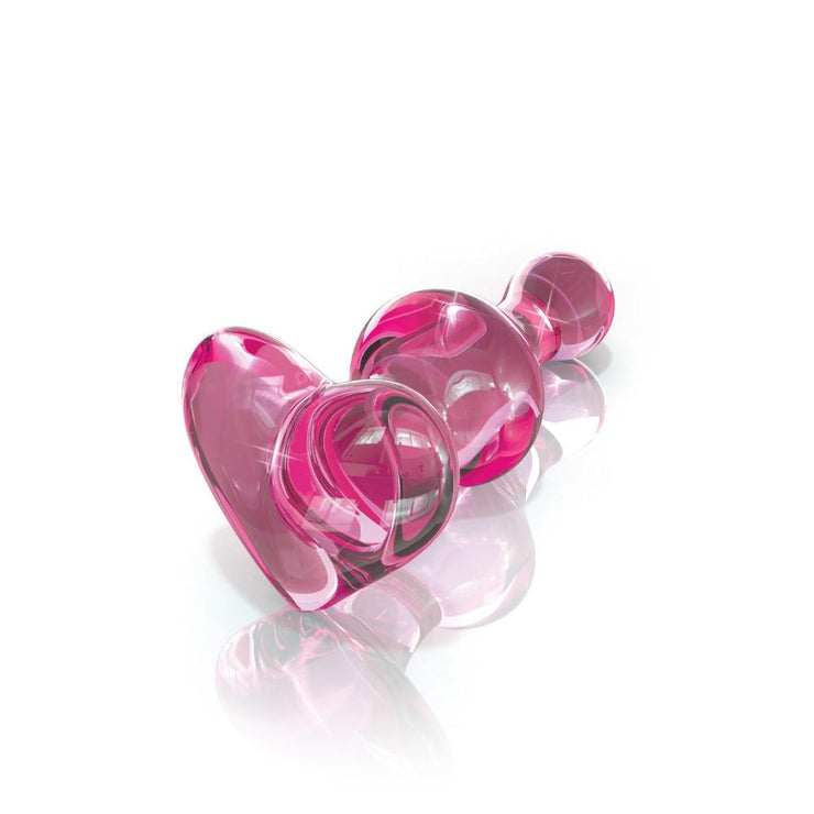 Icicles No. 75 Pink Glass Anal Plug With Heart Shaped Base  Anal Plug Pipedreams Peepshow Toys