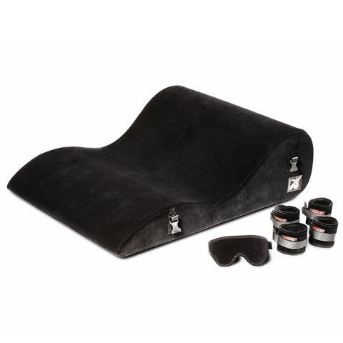 Liberator Black Label Hipster Sex Cushion with Wrist Cuffs, Blindfold, & Tethers - Hamilton Park Electronics