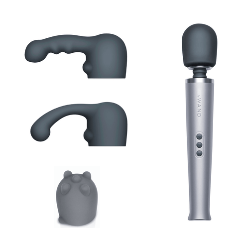 Le Wand Pleasure Set Bundle: Rechargeable Wand Massager with Silicone Attachments