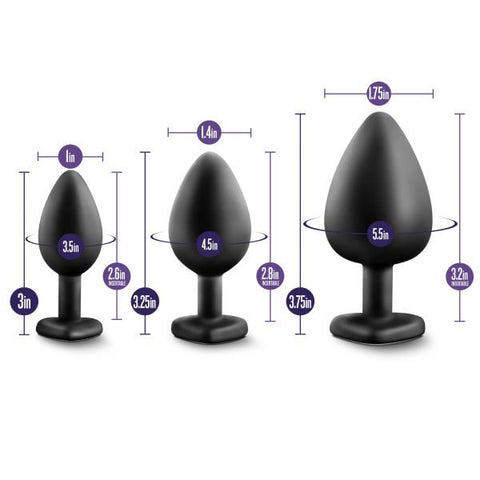 Luxe Bling Plugs Silicone Butt Plug Training Kit Dimensions