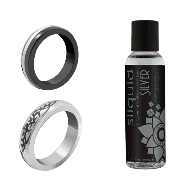 M2M Metal Cock Rings Exclusive Bundle: 2 C-Rings & Silicone Lubricant   PHS & Sliquid Peepshow Toys