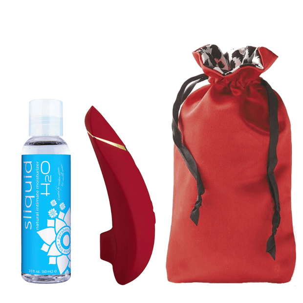 "Womanizer Premium Bundle ""Lady in Red"" with Sugar Sak Antimicrobial Storage Bag  Suction Vibrator Womanizer & Sliquid Peepshow Toys"