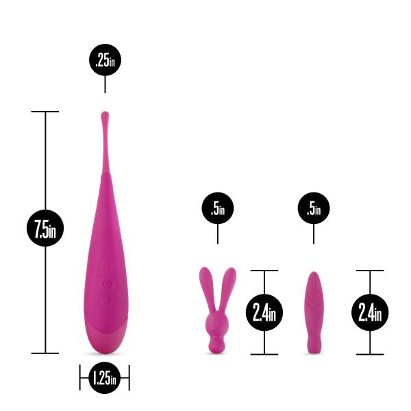 Blush Noje Quiver Pinpoint Vibrator with 2 Attachments  Clitoral Vibrator Blush Novelties Peepshow Toys