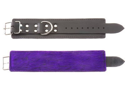 Black Leather Wrist Restraints with Purple Fur Lining   Spartacus Peepshow Toys