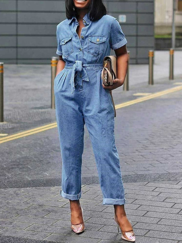 Plain Full Length Lace-Up High Waist Straight Jumpsuit