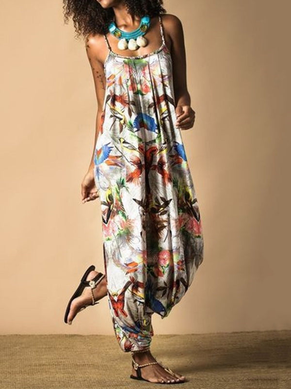 Full Length Casual Print Knickerbockers Loose Jumpsuit