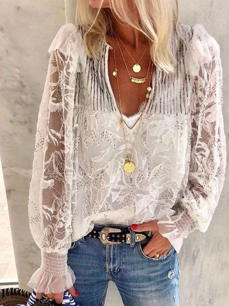 Plain V-Neck Mesh Long Sleeve Mid-Length Blouse
