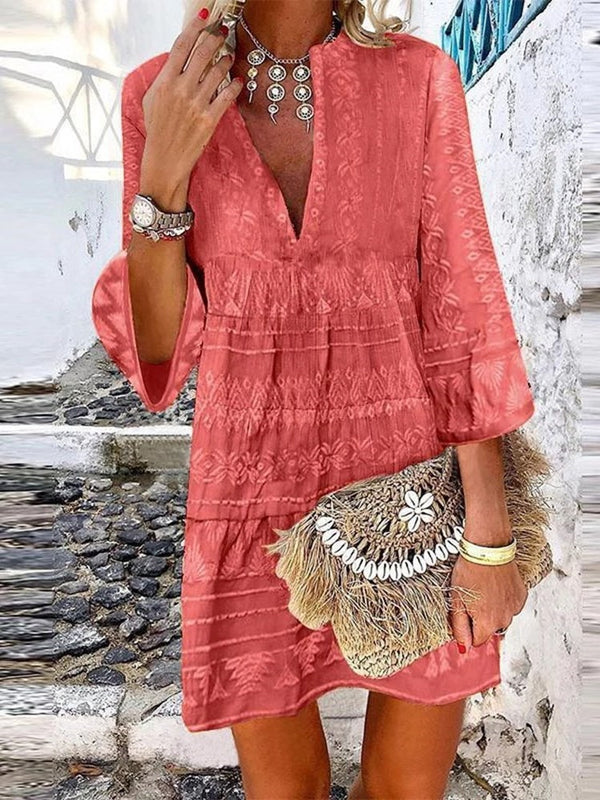 Three-Quarter Sleeve V-Neck Print A-Line Summer Dress