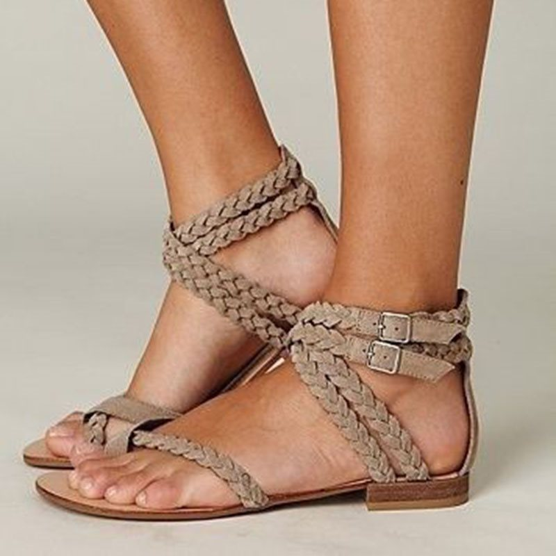 Block Heel Buckle Heel Covering Toe Ring Casual Plain Sandals