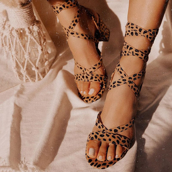 Open Toe Lace-Up Leopard Print Sandals