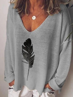 Long Sleeve V-Neck Mid-Length Loose T-Shirt