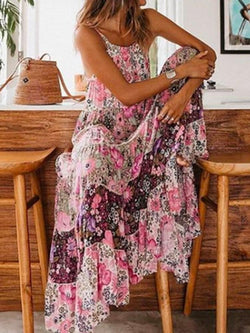 Scoop Sleeveless Print Pullover Floral Dress