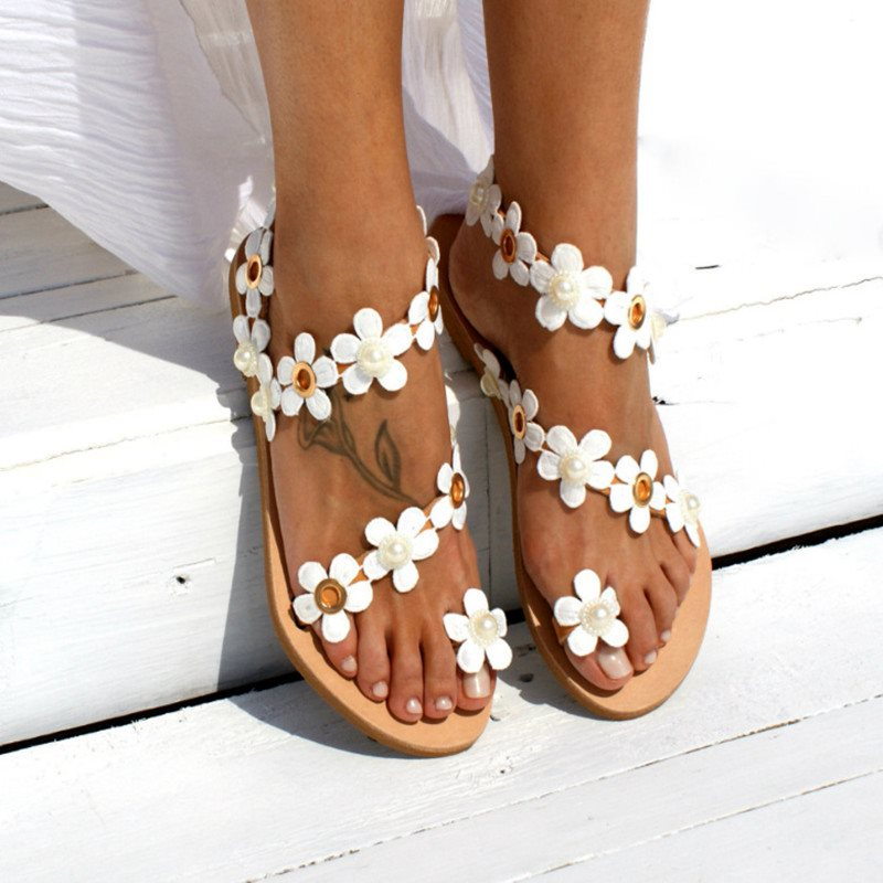 Open Toe Slip-On Floral Sandals