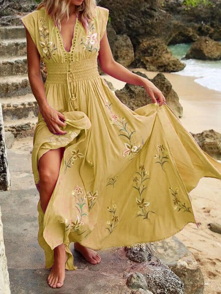 Split Floor-Length V-Neck Floral Pullover Dress